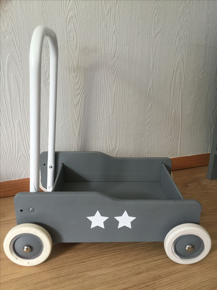 Brio walkin trolly (toddler wobbler) spraypainted grey with star stickers