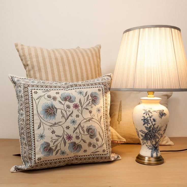 Brownish Blue Elegant Flower pillows. Let the oriental beauty enhance your soul's peace!
