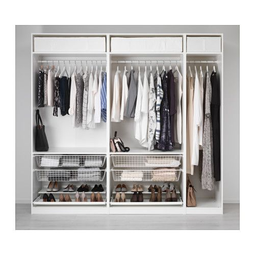 IKEA - PAX, Wardrobe, 250x58x236 cm, , 10-year Limited Warranty. Read about the terms in the Limited Warranty brochure.You can easily adapt this ready-made PAX/KOMPLEMENT combination to suit your needs and taste using the PAX planning tool.If you want to organize inside you can complement with interior organizers from the KOMPLEMENT series.Adjustable feet make it possible to compensate for any irregularities in the floor.