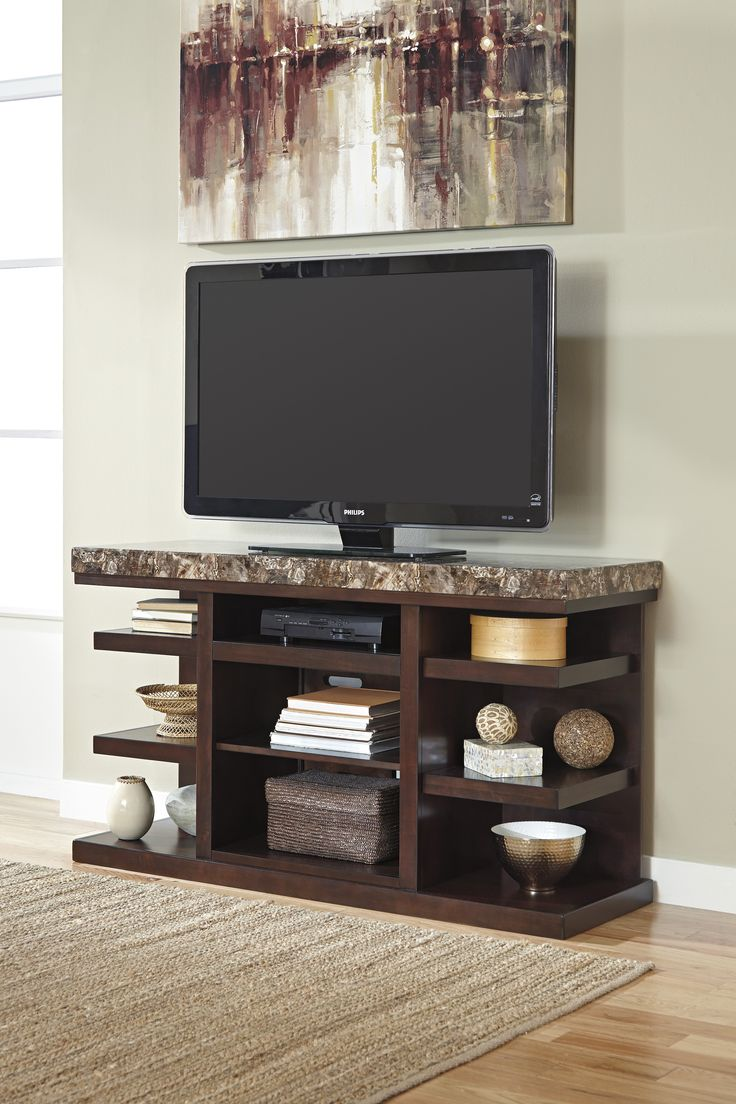 Cheap legends furniture cambridge fireplace media center in cherry - Kraleene Dark Brown Large Tv Stand With Fireplace Option