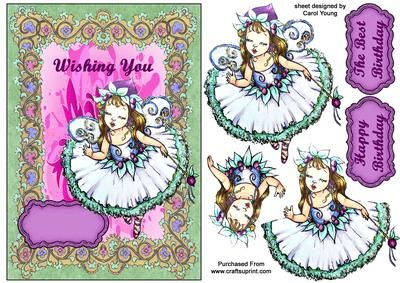 Wish You Fairy Birthday on Craftsuprint designed by Carol Young - This pretty birthday card front is quick and easy to do.  - Now available for download!