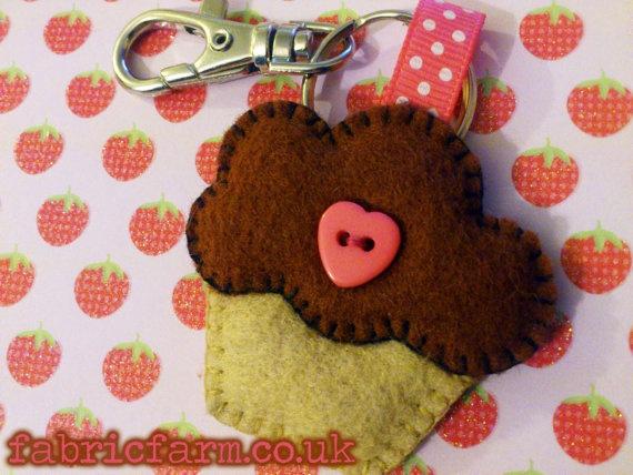 Chocolate Strawberry Cupcake Felt Keyring by FayesFabricFarm, £4.50