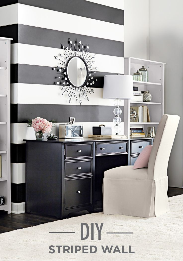 DIY: Recreate This Chic, Black And White Striped Accent Wall In 5 Simple  Steps. Put Down A Fresh Coat Of Home Decorators Collection By Behr Paint In  Nano ...