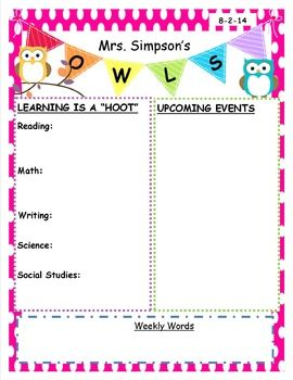 Newsletter template for an owl themed classroom. Editable.