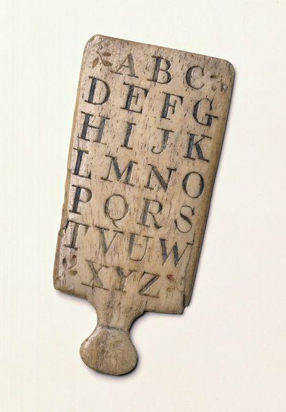 Hornbook made from whalebone, 1785-1815. V&A MISC.239-1978