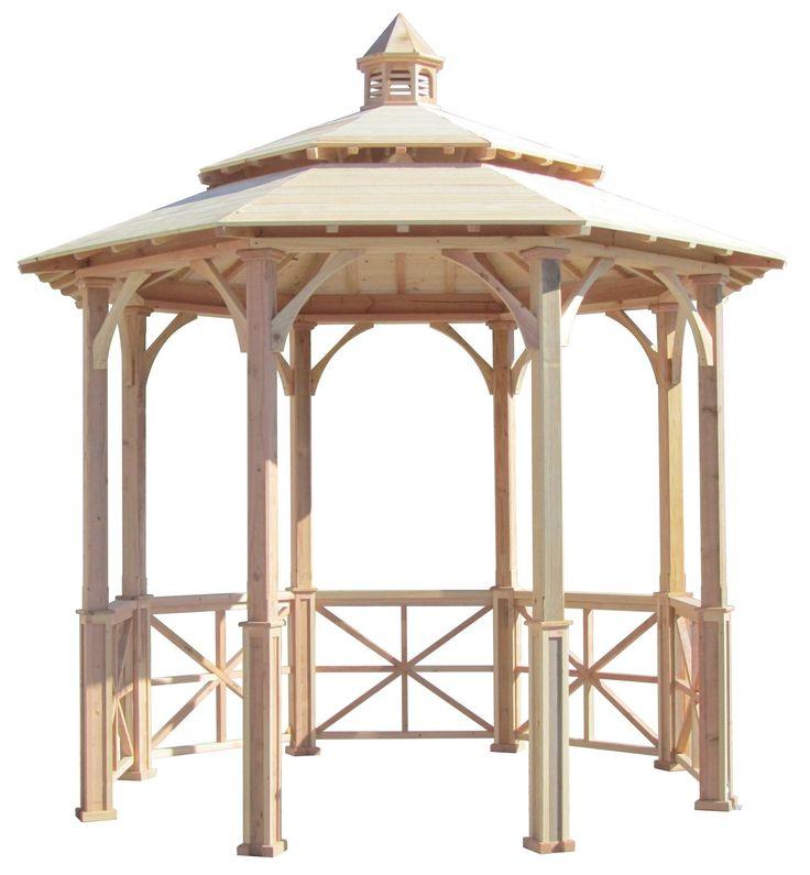 SamsGazebos 10' Octagon English Cottage Wood Garden Gazebo, Two-Tiered Roof, Cupola