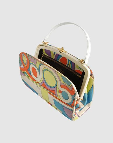 Emilio Pucci - 1960's handbag with beautiful strap and fun circle geometric accents in the fabric design. Brass Hardware
