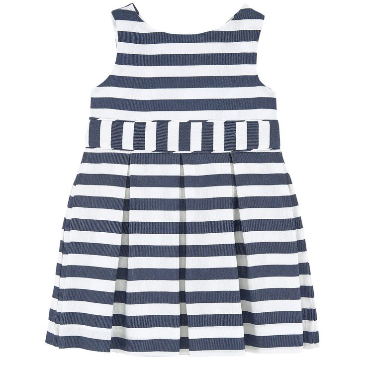 Linen blend on the outside Cotton blend lining Hourglass cut Crew neck Sleeveless Crossover back Box pleats on the front and in the back Puff shape at the bottom Snap buttons in the back Stripe print - 50,00 €