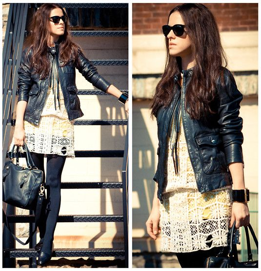 Lace and leather (by Veronica  P) http://lookbook.nu/look/3198335-lace-and-leather