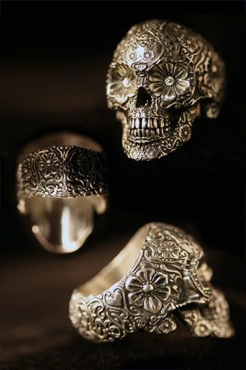Sterling sugar skull ring by Ink Metal Designs - created by T.S. Wittelsbach, a former Hollywood sculptor - is a more extreme look inspired by folklore.