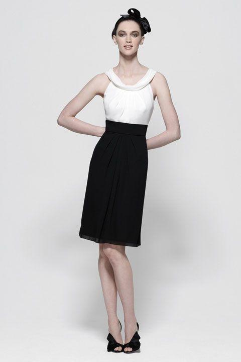 Straps A-line with ruffle embellishment chiffon bridesmaid dress // beautiful black
