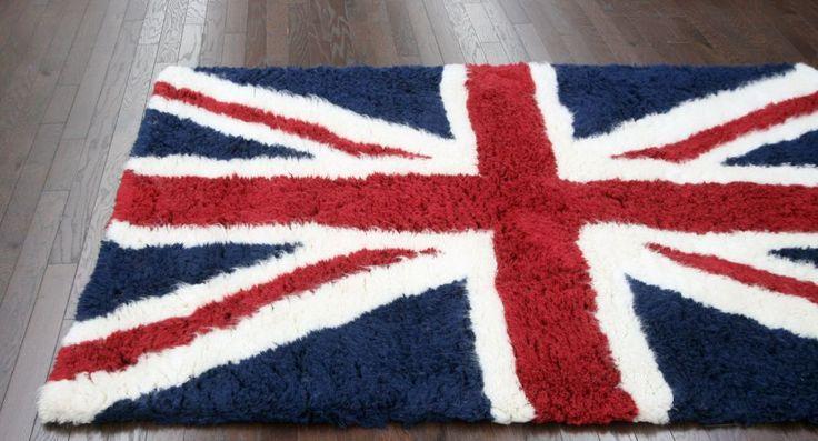 Tuscan British Flag Shag Blue Rug   Contemporary Rugs 5x8 $99