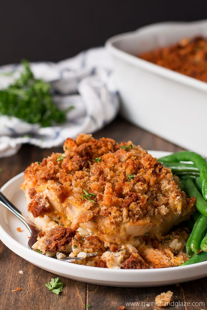 Chicken & Wild Rice Casserole with rice, chicken, a cheesy sauce, and crispy stuffing.
