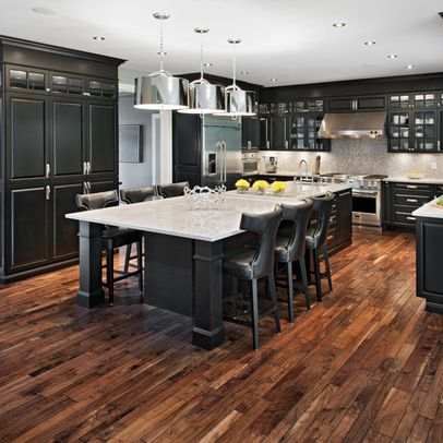 Marchvale Kitchen by Laurysen Kitchens Ltd. LOVE the floors and the black/white/stainless combination is awesome