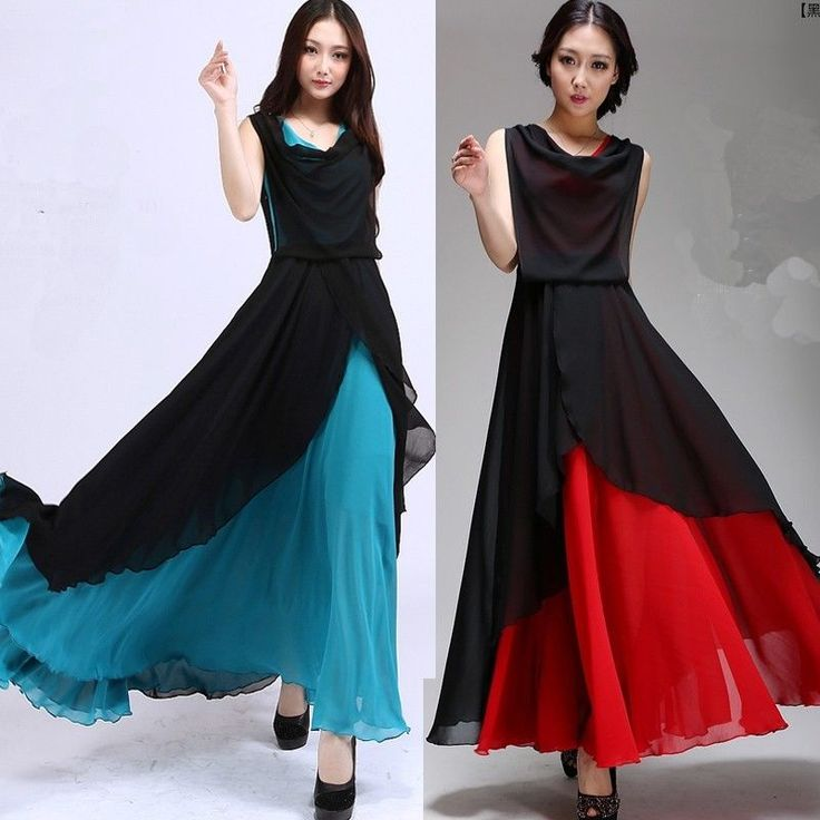 Women Vintage Pleated Summer Boho Long Maxi Chic Party Dress Beach Chiffon Dress