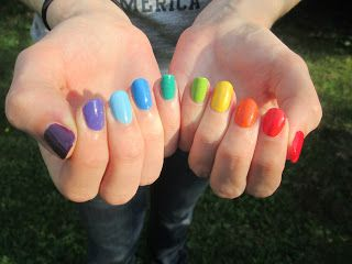 Rainbow skittle manicure