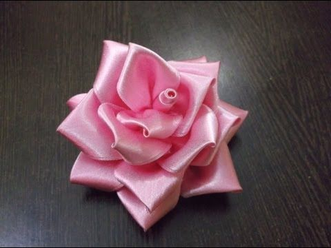 DIY Satin ribbon rose, satin ribbon flower tutorial,how to,kanzashi - YouTube