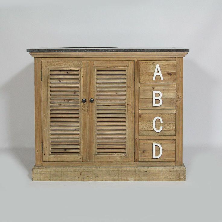 Meuble salle de bain 1 vasque 2 portes en bois recycl for Meubles en bois naturel