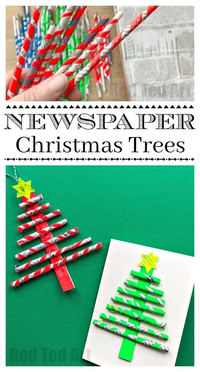 Newspaper Christmas Tree Ornaments Diy Red Ted Art Make Crafting With Kids Easy Fun Diy Christmas Tree Ornaments Xmas Crafts Christmas Crafts For Kids