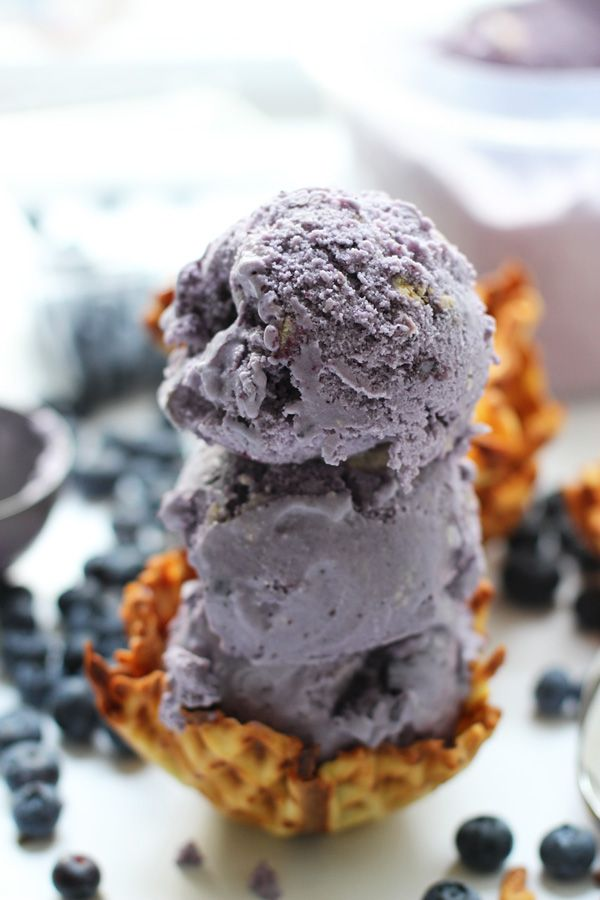 Blueberry Buttercookie Gelato with Homemade Sugar Waffle Bowls