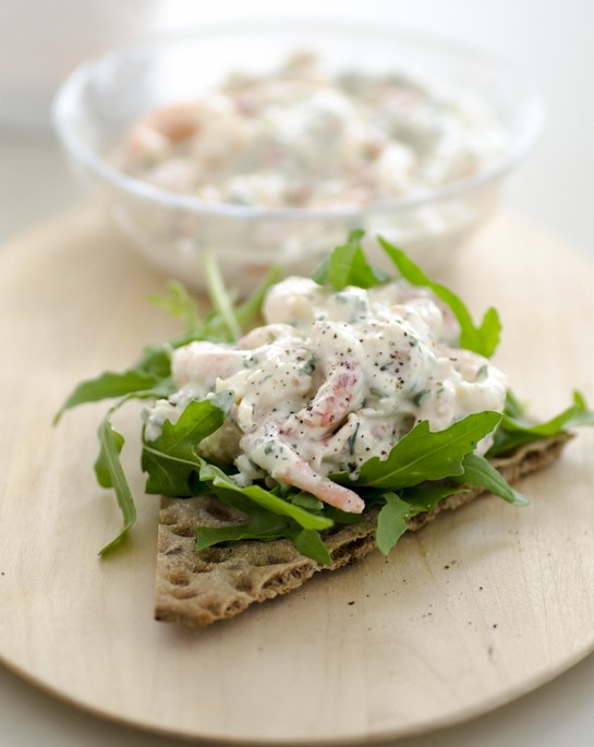 Skagenrora seafood salad on crisp bread x