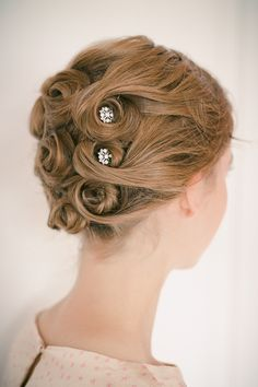 The Hair Parlor // Arranged Pin-Curl Updo with Lilla Rose You Pins!