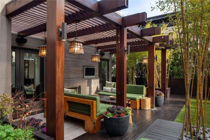 Garden & Patio, Modern Home Deck Cover Design Green Sofas With Black Table Big Wooden Pillars Some Spot Light Fixtures Installed On Each Pillar Beautiful Pendant Lamps For Outdoor Black Stained Wood Planks Flooring ~ Deck Cover Ideas