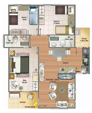 Casa económica de una planta con 3 dormitorios