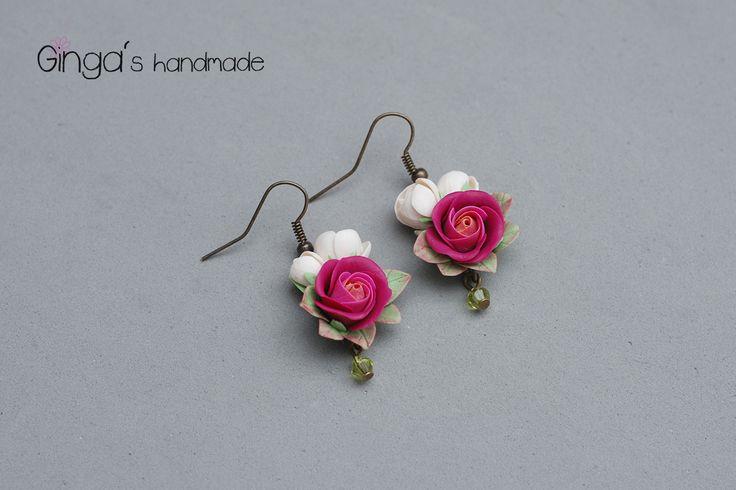 Handmade earrings. Polymer clay pink roses.