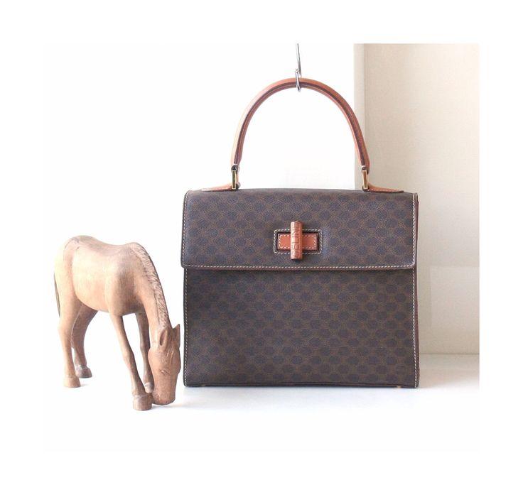 Celine Tote Bags, Macadam vintage handbag Brown Authentic by hfvin on Etsy  #celine #kelly #tote #macadam #handbag #hfvin