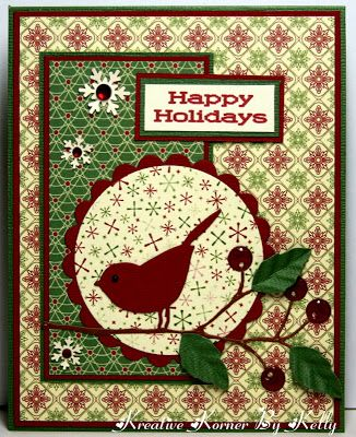 Christmas card ... Memory Box die cut bird & branch with berries ... luv all of the pretty patterned papers used in this layout ...