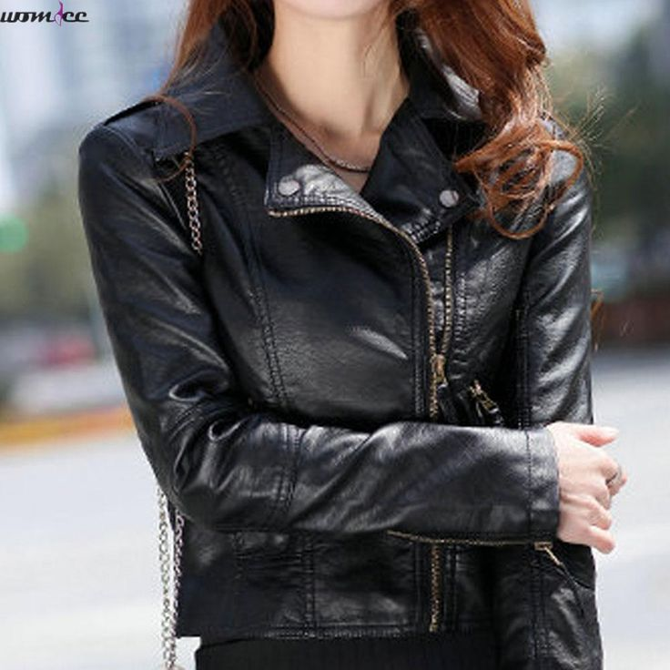 On sale US $17.16  Leather Jacket Women Spring Rivet Zipper Slim Motorcycle Faux Female Leather Jackets  Paragraph Lapel PU Women Leather Jacket  . Get promo for product: Womens Leather Coats On Sale.