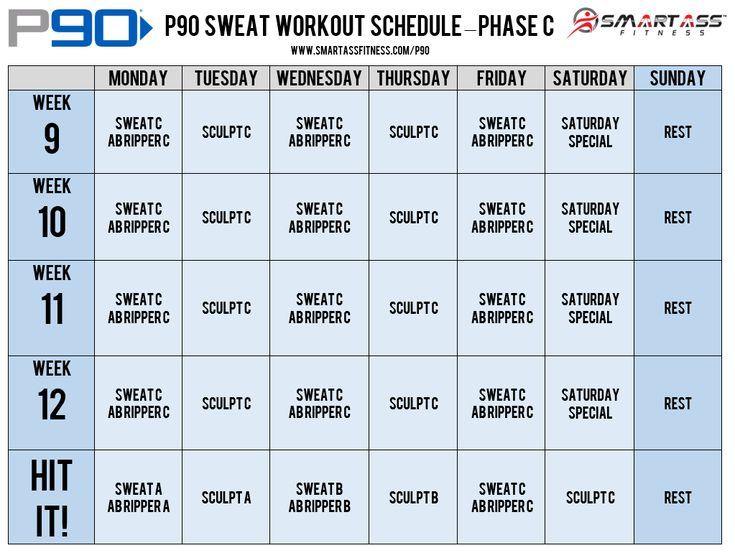p90 workout schedule sweat weight loss meals pinterest
