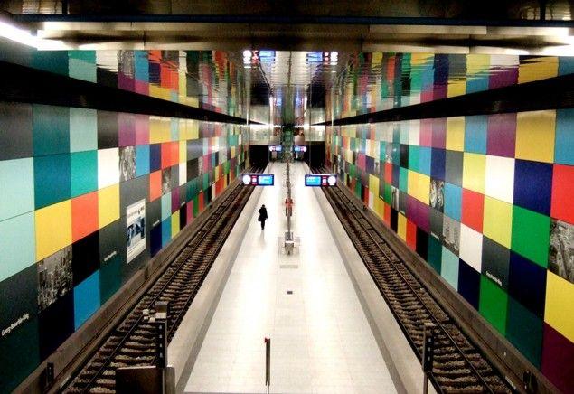 "World Most Amazing Interior Design Of Subway Stations - München (Munich), Germany - Metro station ""Georg-Brauchle Ring"""