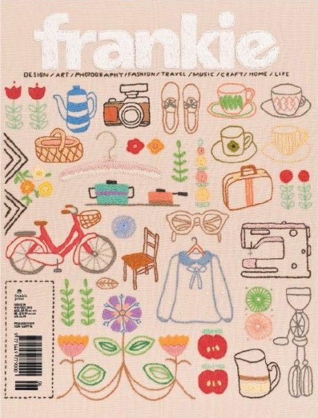 frankie magazine, home decoration, decoration magazine, embroidery, embroidered cover, magazine cover