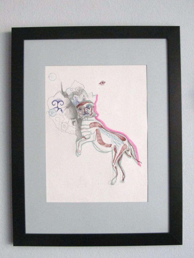 Šaman Autorská kresba kombinovanou technikou. Kresba je inspirována pravěkou malbou šamana a zárověň jedním z krvelačných bžstev budhistického pantonu.  Rozměr obrazu včetně rámu je cca 44x33 cm.