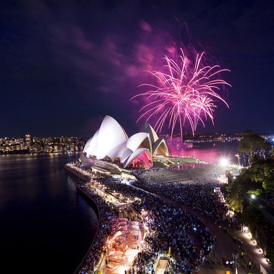 Sydney is known for having one of the world's most fantastic New Year's Eve fireworks shows. In fact, there are two of them—an early show aimed at families, which starts at 9 p.m., and the grand finale at midnight, with glittering pyrotechnics rising from the Sydney Harbour Bridge.