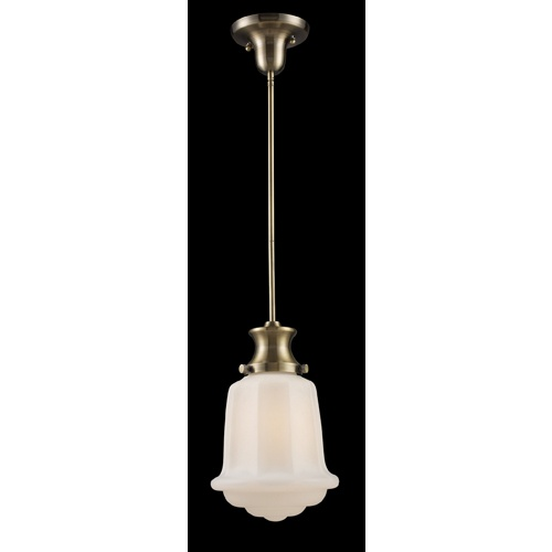 """$138 Westmore Lighting 9"""" Antique Brass Pendant Light with White Shade"""