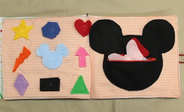 Mickey Mouse Quiet Book - shapes and color matching page