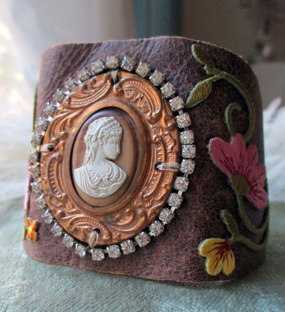'lyric' vintage leather cuff bracelet with cameo by The French Circus on Etsy