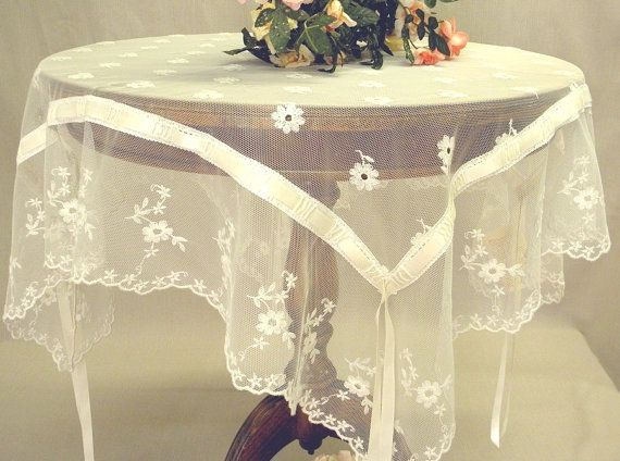 Tablecloth  Embroidered Tulle French Lace by ClassyInteriorsDeco