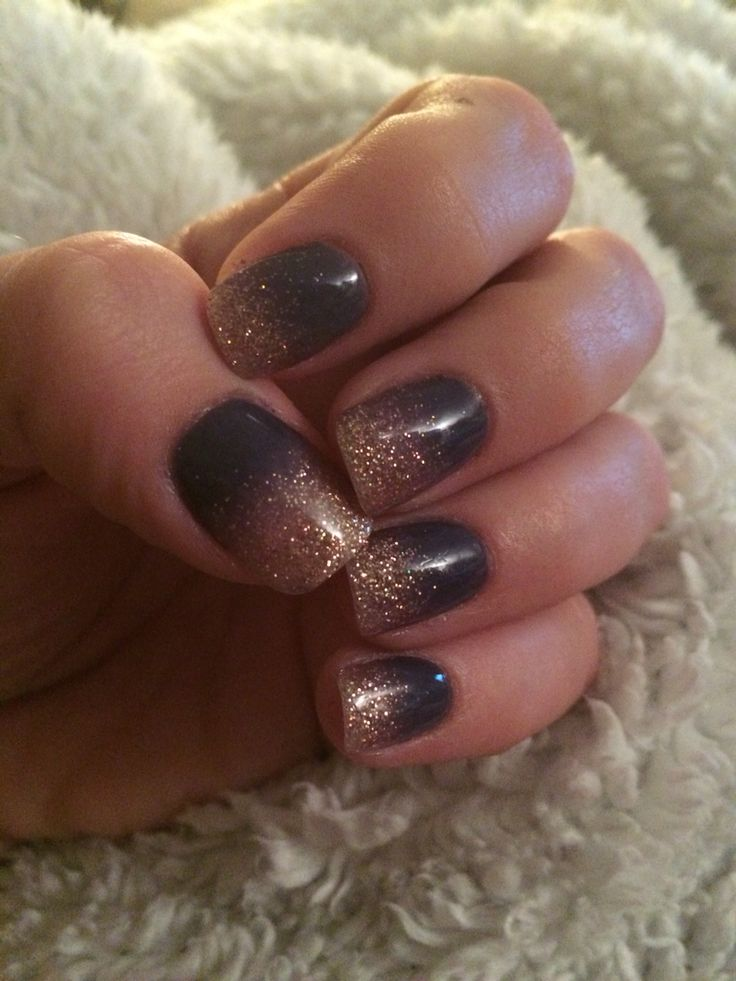 Anc Ombr 233 Indigo With Gold Nails Pinterest Indigo And Gold