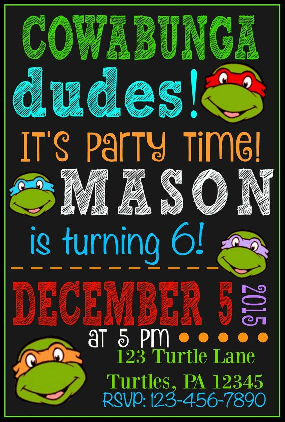 Ninja Turtle Birthday Party Invitation Ninja by CraftonCrafters