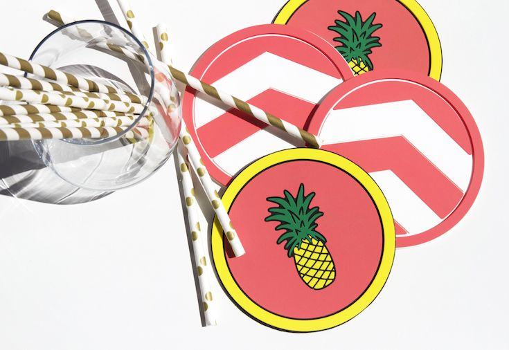 Party time! Vessel Coasters Pineapple and Coral Chevron Coasters