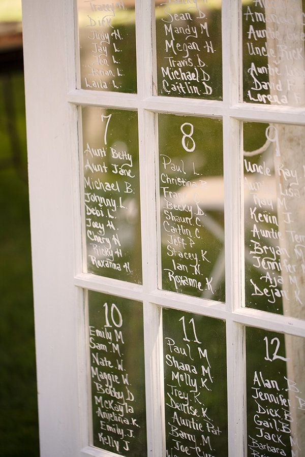 Write table assignments on an old window pane. | Flavio D Photography