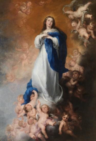 'La Inmaculada Concepción de los Venerables Sacerdotes' (1660-65) una de las obras que Murillo creó para  la iglesia de Santa María la Blanca, en Sevilla, por encargo de Justino de Neve