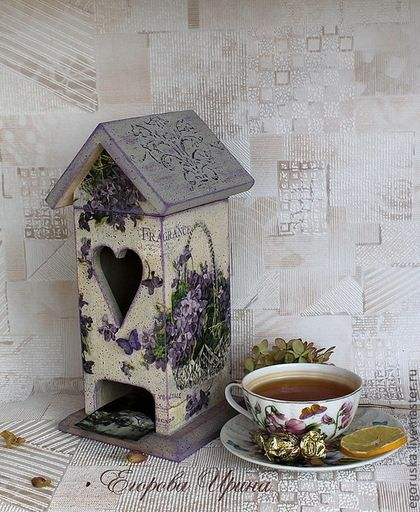 Кухня ручной работы. Ярмарка Мастеров - ручная работа. Купить Чайный домик Корзина фиалок. Handmade. Домик, чайная коробка