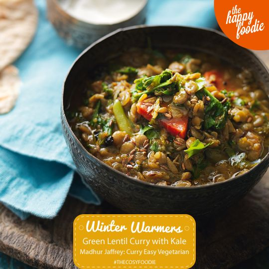 Green Lentil Curry with Kale from Madhur Jaffrey's Curry Easy Vegetarian. This wonderful warming dish with iron-rich kale is full of goodness. A healthy main course or serve it as a side dish. http://thehappyfoodie.co.uk/recipes/green-lentil-curry-with-kale #thecosyfoodie