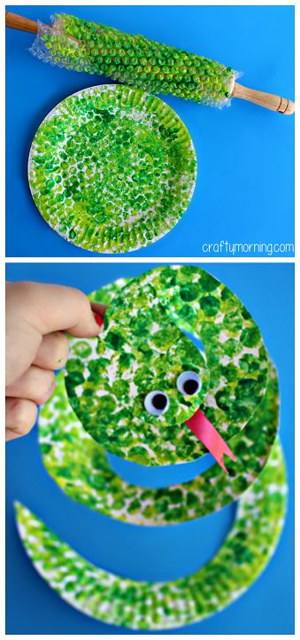 Paper Plate Snake Craft Using Bubble Wrap kids art project via CraftyMorning.com #preschool #kidscrafts #efl #education #upcycle (repinned by Super Simple Songs)