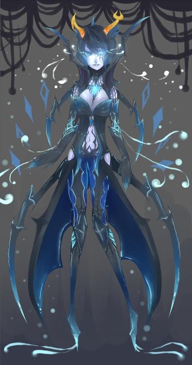 Aranea Serket, Homestuck  She looks like a Witchblade wielder, or a Neogene o 3 o (Anime Witchblade, the comic isn't all to great)
